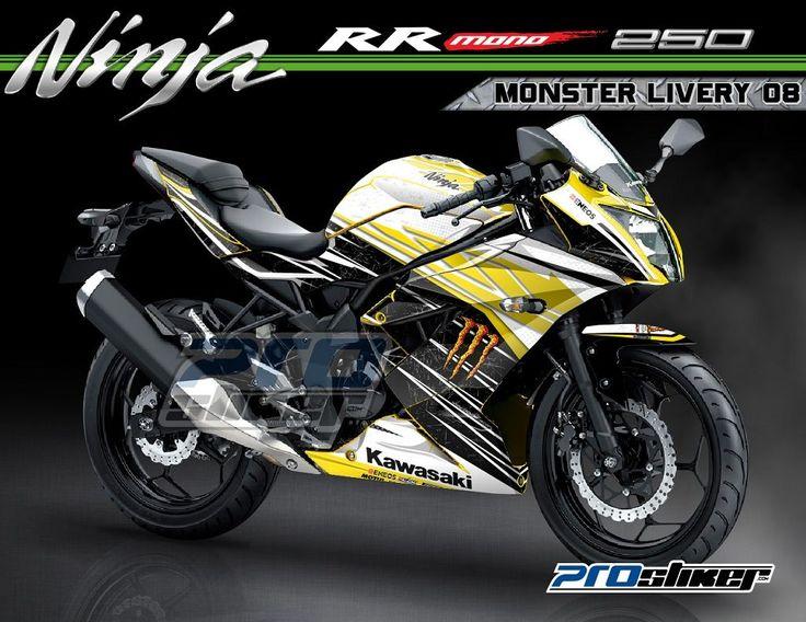 Kawasaki Ninja RR Mono 250cc Warna Kuning Modifikasi Striping Desain Monster Livery 08 Kuning Prostiker