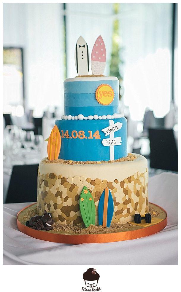 """Hochzeitstorte """"Sommer, Sonne, Strand"""" Wedding Cake in Summer, Beach Cake, Surfer Cake"""