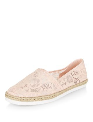 Wide Fit Shell Pink Lace Espadrilles | New Look