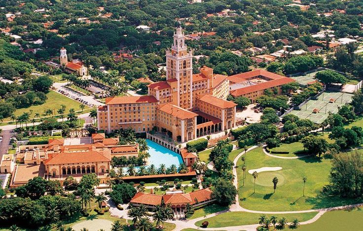 The Biltmore Hotel Miami - Coral Gables : This National Historic Landmark is located in the exclusive Coral Gables area in Miami. The 273-room hotel reflects classic Italian, Moorish, and Spanish architectural influences spread over 150 acres of tropical landscaping. #Miami #Hotels