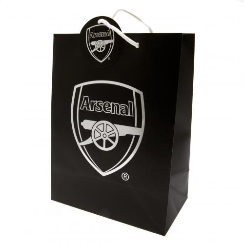 Large Arsenal FC gift bag with metal eyelets, made of card and featuring the club crest printed on the front. FREE DELIVERY ON ALL OF OUR GIFTS