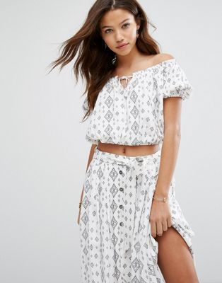 Moon River Printed Crop Top Co-Ord