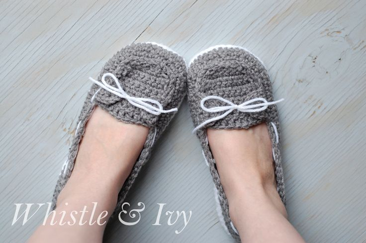 Women's Boat Slippers - Free crochet pattern for these comfy and cute boat shoes slippers