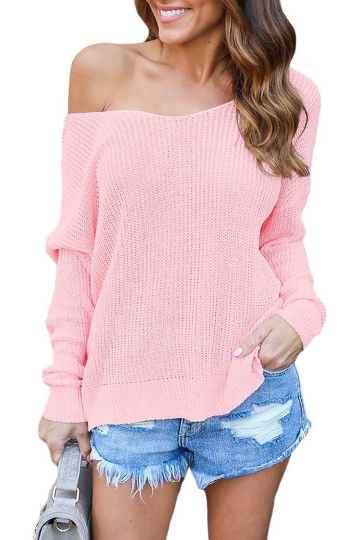 Mode Pink Backless Knit Sweater with Twist Back Detail ChicLike.com