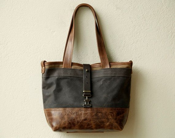 waxed canvas and leather tote CLASSIC TOTE by roughandtumblebags