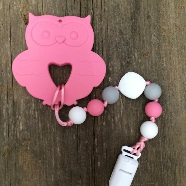 Pink Owl - Soft Pink & White