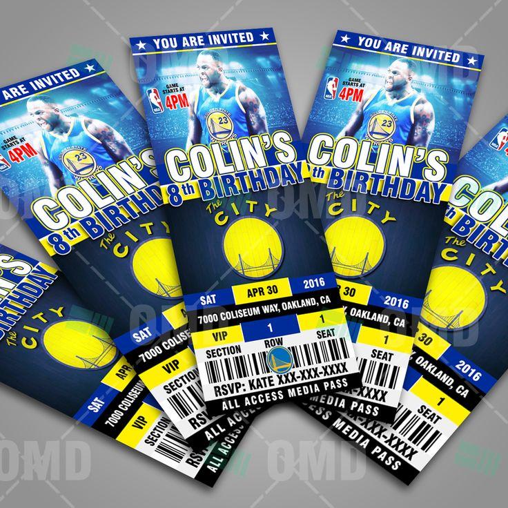 Golden State Warriors Sports Ticket Style Party Invites #sportsinvites