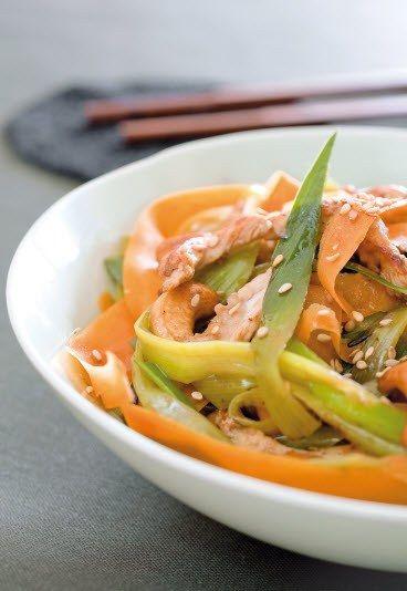 Wok aux carottes et autres légumes, riche en betacarotène