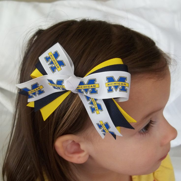 U of M Hair Bow, University of Michigan, Blue and Gold, Baby, Girls, Clip, Basketball, College Football, Wolverines, Sports Bow, NCAA by MyBuildaBow on Etsy