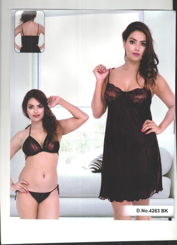 Indiatrendzs Women Black Stretchable Net Lingerie 3pc Short Nighty ... c0c619444