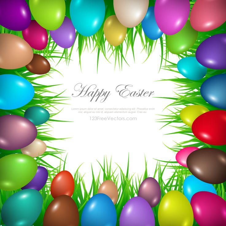 Vector Background Decorated With Colorful Easter Eggs And Grass