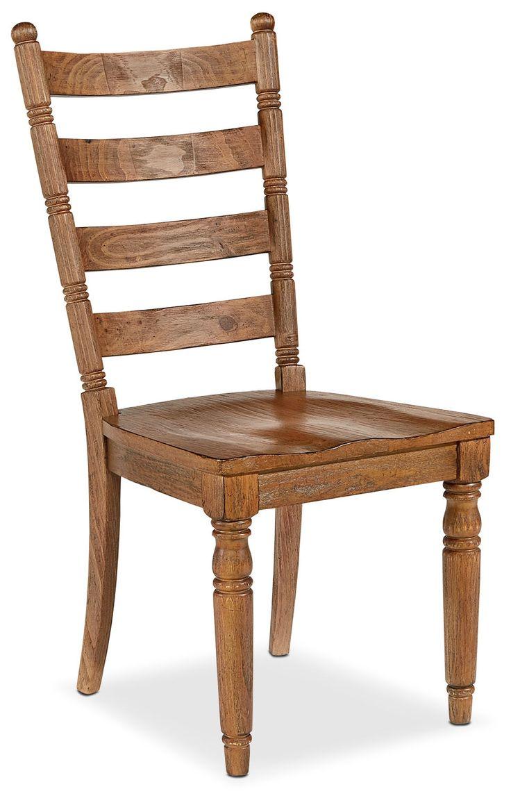 Dining Room Furniture - Set of 2 Primitive Slat Back Side Chairs - Bench