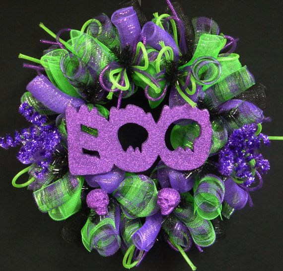 boo halloween wreath skull wreath purple black lime green wreaths for the