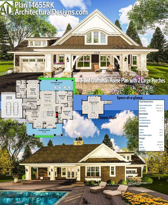 Plan 14655rk craftsman house plan with two large porches for Craftsman house plans with bonus room