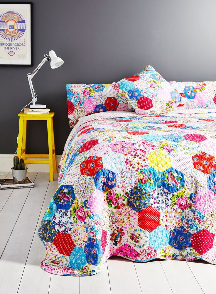Faux Patchwork Bedding Red Gray And Aqua For The Home Pinterest More Bedspread And Bhs Ideas