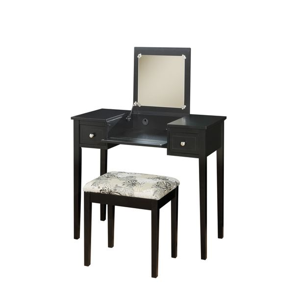 Product: Vanity Set Color: Black Features: Flip Top Mirror With Safety Stay  Hinge Plush And Padded Stool Pre Drilled Wire Management Hole Dimensions:  30 H ...