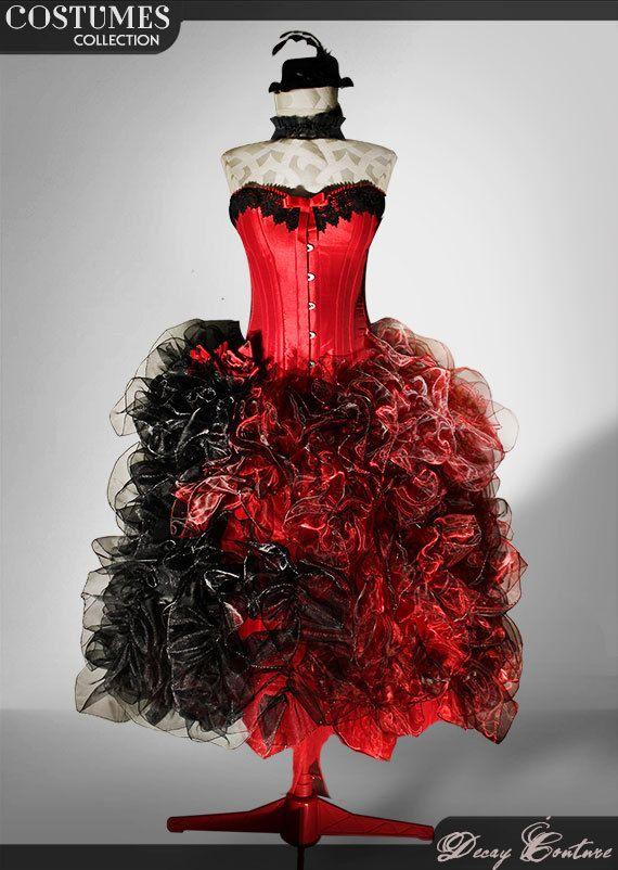 Abito da sposa rosso, con corsetto rosso, decorazione in pizzo, gonna in organza rossa e nera
