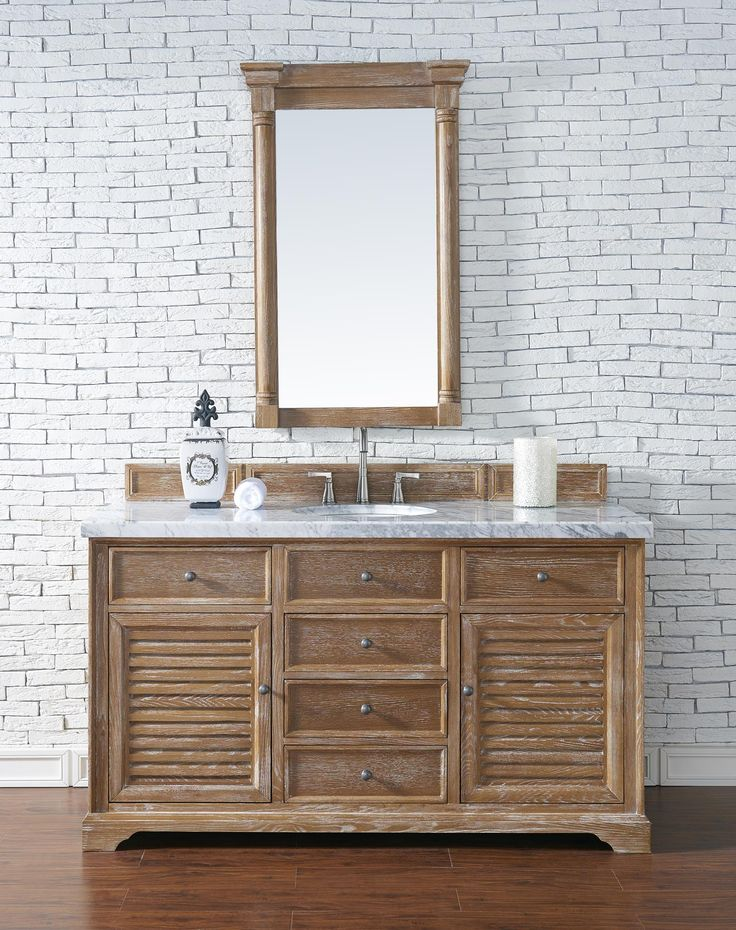 Pics On Savannah Single Sink Bathroom Vanity Cabinet Driftwood Finish Carrara White Marble Countertop