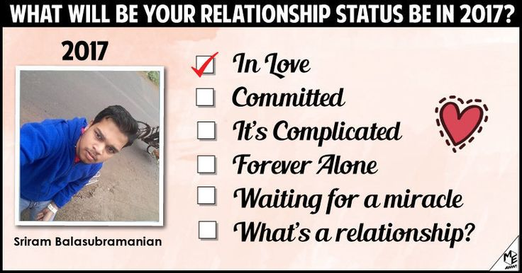 <b>Sriram</b>, 2017 is going to be an amazing year for you. If you haven't found love till now, this will be your year and if you already have, this year will rejuvenate your relationship. Share this with your friends and let them know about your relationship status in 2017.