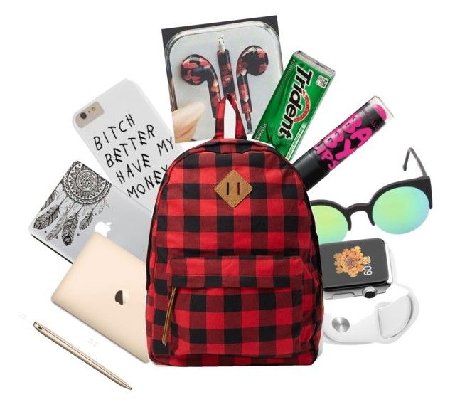 """""""What's in the backpack"""" by ivielynjace on Polyvore featuring Maybelline, RetroSuperFuture and Forever 21"""