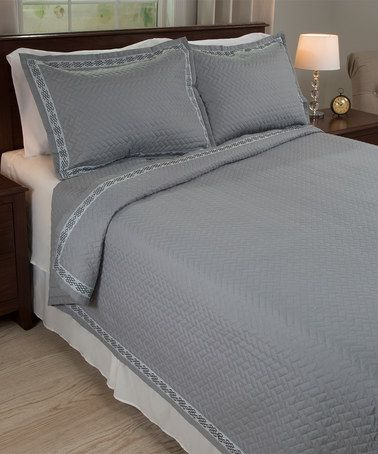 Loving this Gray Valencia Embroidered Quilt Set on #zulily! #zulilyfinds