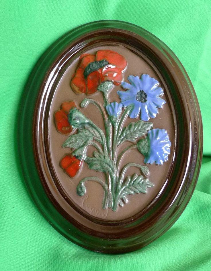 Vintage GABRIEL Sweden A203 - Swedish wall plaque ceramic FLOWERS signed