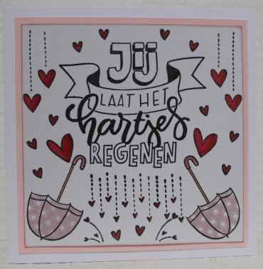 Gemaakt door Joke # Jij laat het hartjes regenen, in roze