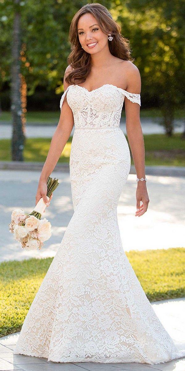 chic Stella York off the shoulder wedding dress 2018 collection #weddingdresses #weddingdress #laceweddingdress #vintageweddingdress #bohoweddingdress