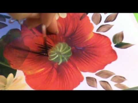 folk art tutorial (reminds me of old folk art from sweden)▶ One Stroke PAPAVERI di Marzia Di Somma - YouTube