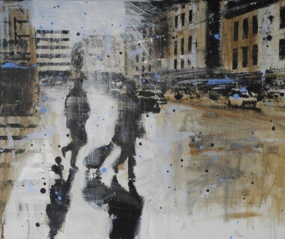 Presa di coscienza – olio su tela cm. 50×60 - Veduta di città - dipinto con città