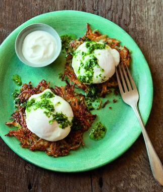 Potato Pancakes, Poached Eggs & Green Onion Sauce | Kid-Friendly Passover Recipes - Parenting.com