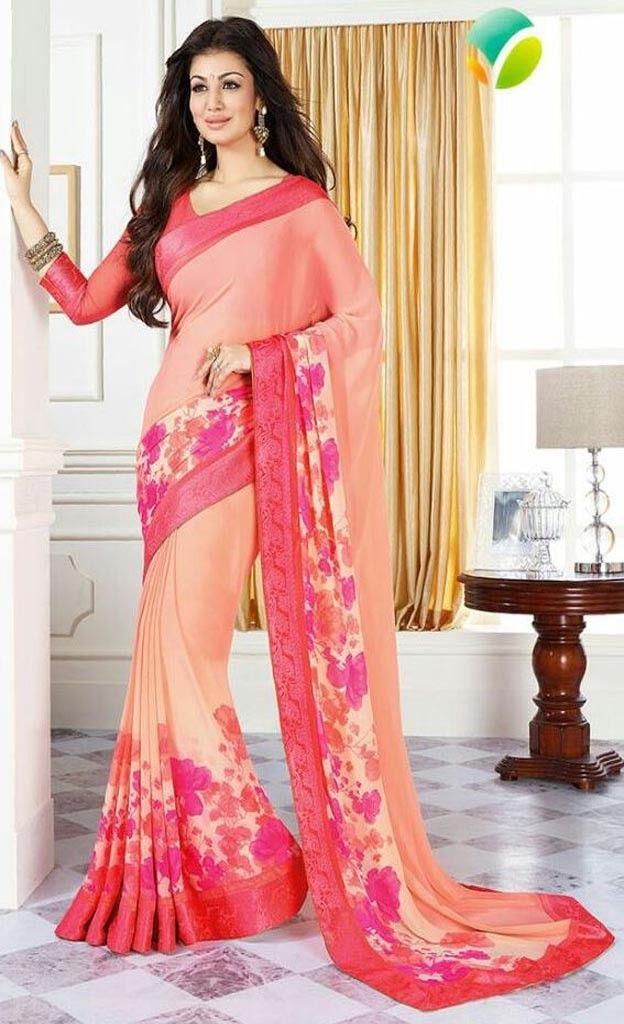 Vinay Sheesha Peach Color Flower Printed Georgette Saree With Peach Blouse - Ayesha Takiya