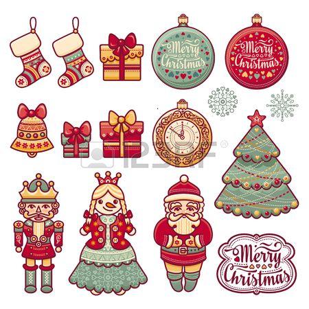 Набор цветных иконок рождественские. Новый год. Обрежьте бумагу. Eps. Pattern игрушка. Новогодние шары. Дед Мороз. Щелкунчик. Снеговик, носки, подарочные коробки. Рождественская елка, часы. Рождественский олень. Северный олень. Вязание.
