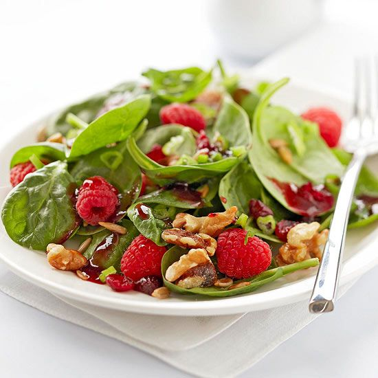 Our Cranberry-Raspberry Spinach salad offers heart-boosting fruits and delicious greens. More no-cook recipes: http://www.bhg.com/recipes/healthy/our-best-healthy-no-cook-no-bake-recipes #myplate #veggies