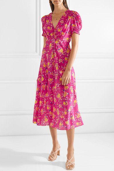 4a159cfbc1af Saloni | Lea floral-print silk crepe de chine midi dress | NET-A-PORTER.COM