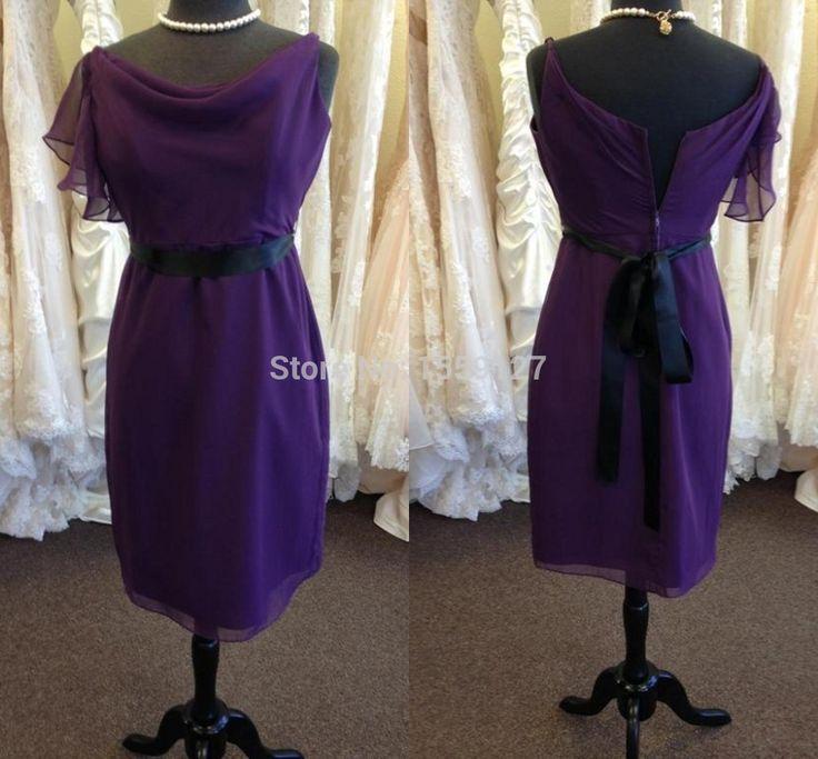 Короткие фиолетовые платья невесты с Ruched деталь 2016 Большой размер дешевые Vestidos свадебные платья событий в продаже B1009