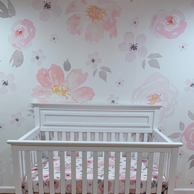 Soft Pink Pastel Floral Wallpaper Mural Traditional Or Removable Vinyl Free Non Toxic Floral Wallpaper Mural Wallpaper Mural