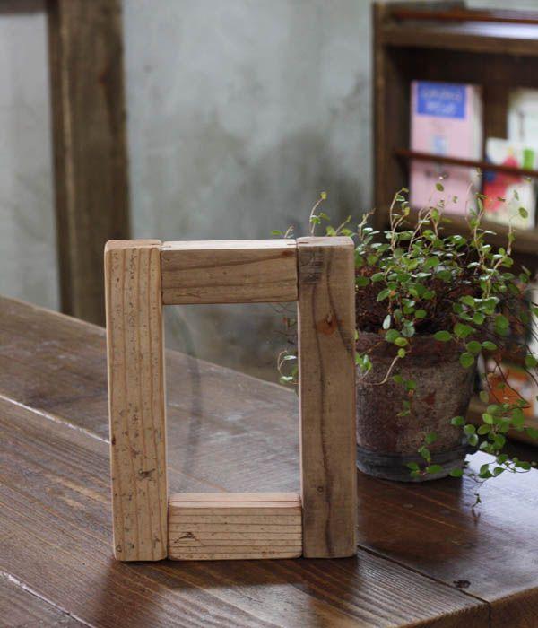 OLDASHIBA(足場板古材)フォトフレームB7(L判写真サイズ)無塗装●受注生産品A