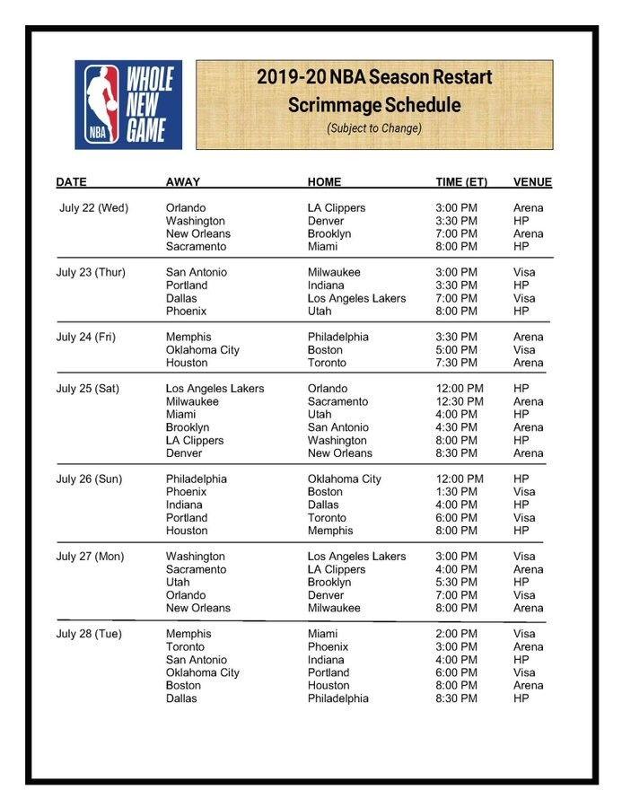 Full Schedule Nba Restart Scrimmages In 2020 Nba Nba Season Memphis Grizzlies