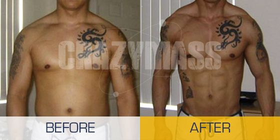 Before and after using CrazyBulk