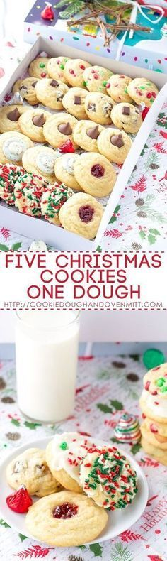 Giving a cookie box? Using this five christmas cookies one dough recipe. Fill the box up with an assortment of cookies without making several recipes. - #cookies #christmascookies