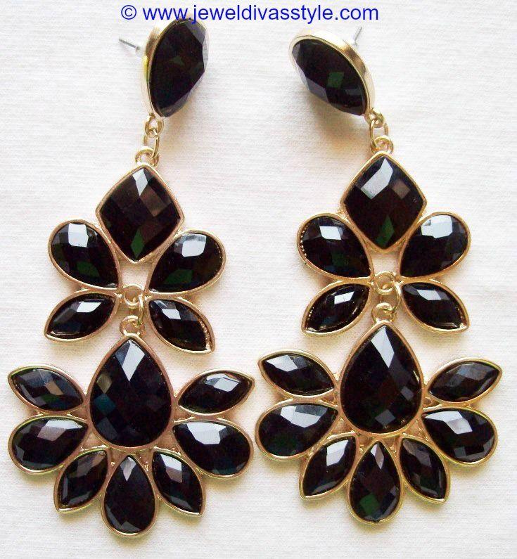 JDS - BLACK FLOWER EARRINGS - http://jeweldivasstyle.com/my-personal-collection-black-jewellery-2/