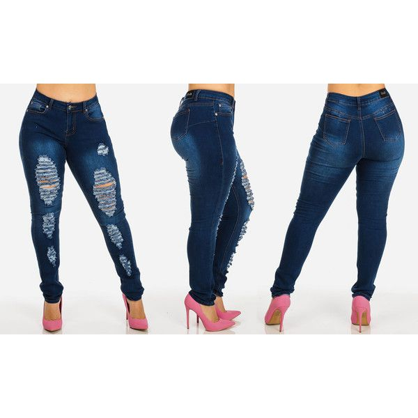 Women's ModaXpressOnline.com Women's Plus Size Ripped Stretchy Skinny... ($25) ❤ liked on Polyvore featuring plus size women's fashion, plus size clothing, plus size jeans, blue, jeans, blue skinny jeans, plus size stretch jeans, plus size skinny jeans and blue jeans
