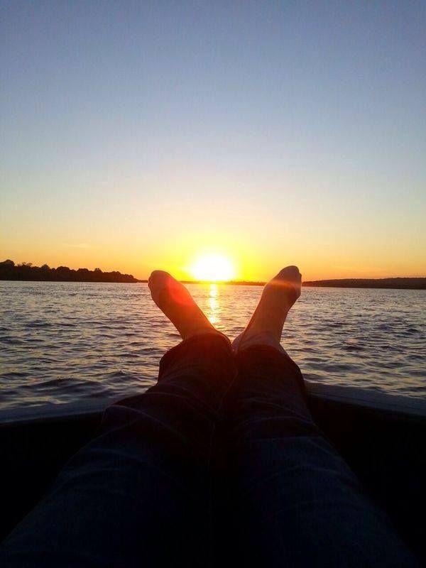 Lying back and watching a beautiful sunset