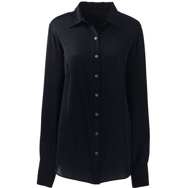 Lands' End Women's Petite Long Sleeve Crepe Blouse ($30) ❤ liked on Polyvore featuring tops, blouses, black, crepe top, petite tops, crepe blouse, petite blouses and lands end tops