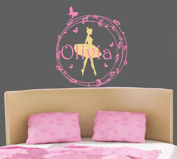 Name Wall Decal Personalized Name Wall Decal Rustic Nursery Decal Girl Name  Stickers Ballerina Vinyl Decal Part 76