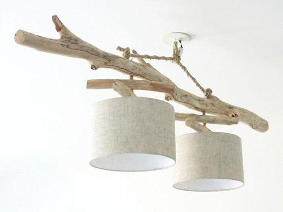 Lustre/plafonnier en bois flotté   Lin 28 cm  création