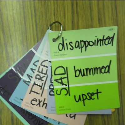 """Use paint chips to teach students different """"shades"""" of meaning. education.com on facebook"""