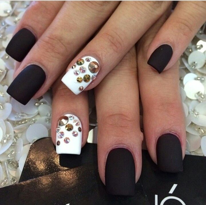 Matte Black. White. Studs. Rhinestones. Nails. Bling