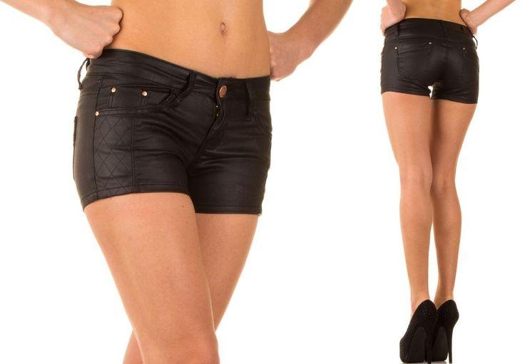 Damen JEANS Lederimitat HOSE Hot Pants Lederoptik Shorts Kurze HÜFTJEANS  34-42